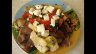 Вкусный картофель с мясом.  Potatoes with meat in the oven