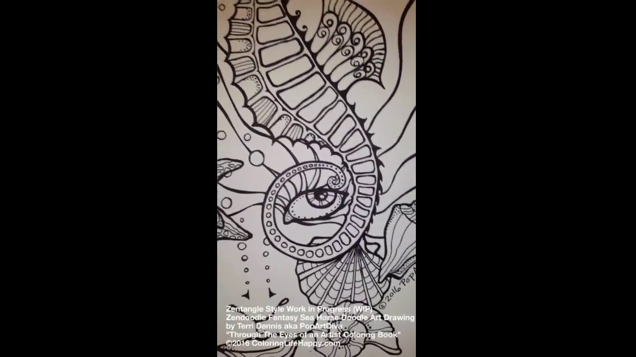 Sea She Coloring Book Zentangle Style Drawing With Seahorse