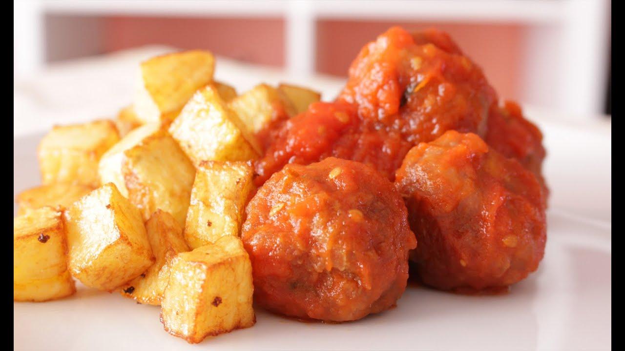 Alb ndigas con salsa de tomate youtube - Albondigas de patata ...