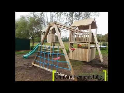 play crazy double tower wooden climbing frame with swing set climbing frame installer