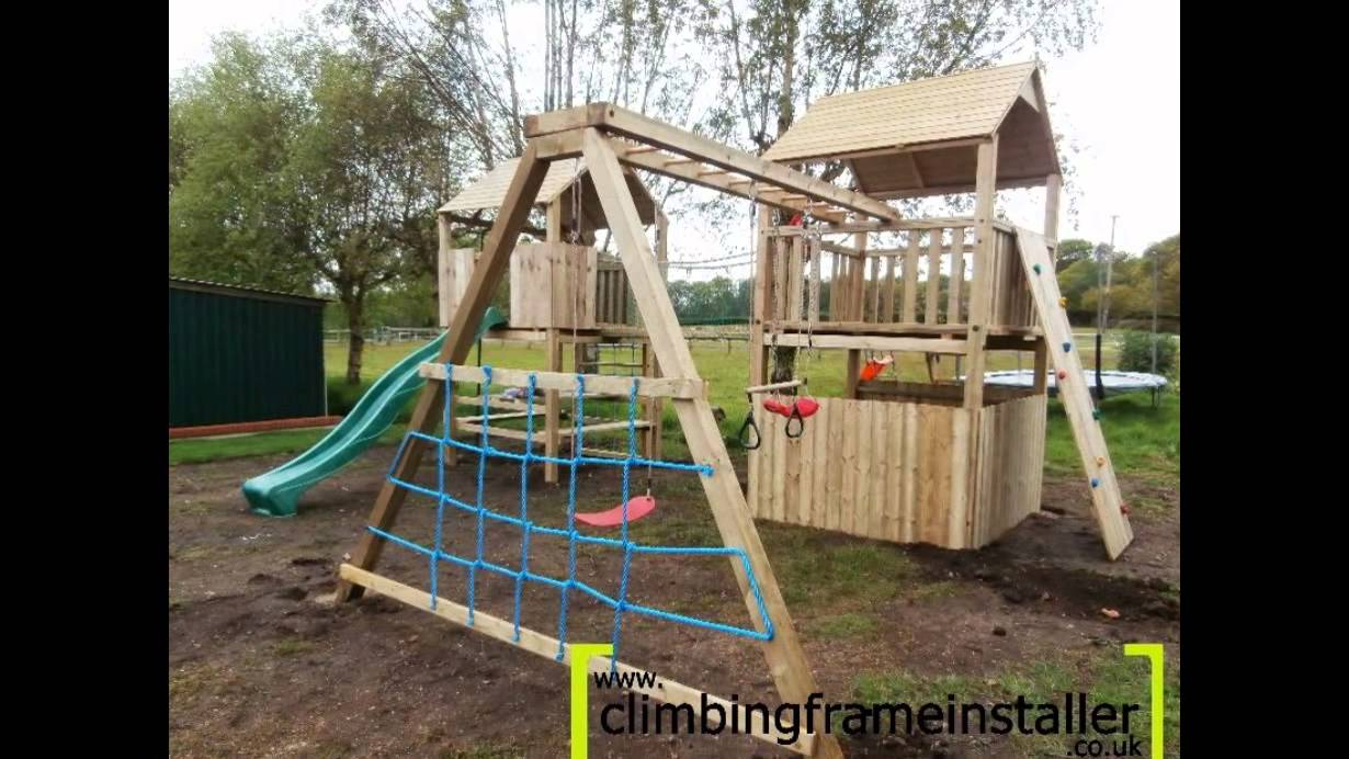 Play Crazy Double Tower Wooden Climbing Frame with Swing Set ...