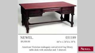 Antique American Victorian Mahogany Library Table Desk