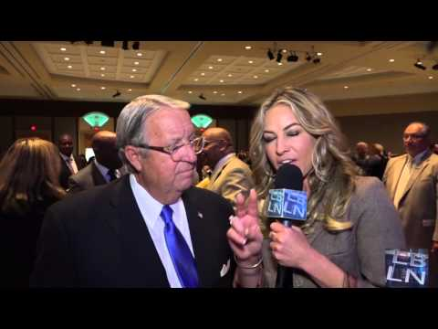Don Knabe speaks with Melissa McGinnis at the State of the County