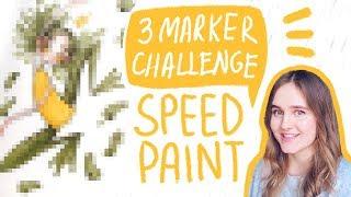 3 MARKER CHALLENGE | Рисую всего тремя маркерами!