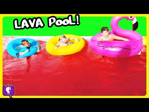 POOL IS LAVA CHALLENGE!! Don't Fall in! Floaty FUN with HobbyKidsTV