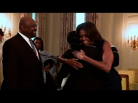 Raw Video: The First Lady Surprises Tour Guests and Opens Old Family Dining Room