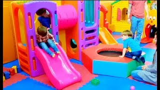 Kids Playing with Lots of Toys at the Indoor Playground
