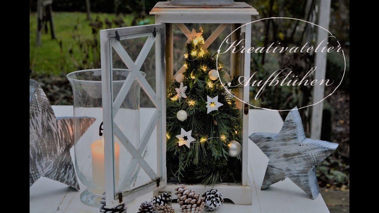 diy echter mini weihnachtsbaum in wei er holz laterne. Black Bedroom Furniture Sets. Home Design Ideas