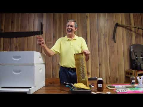 Dean Gerber removing wax from honeycomb