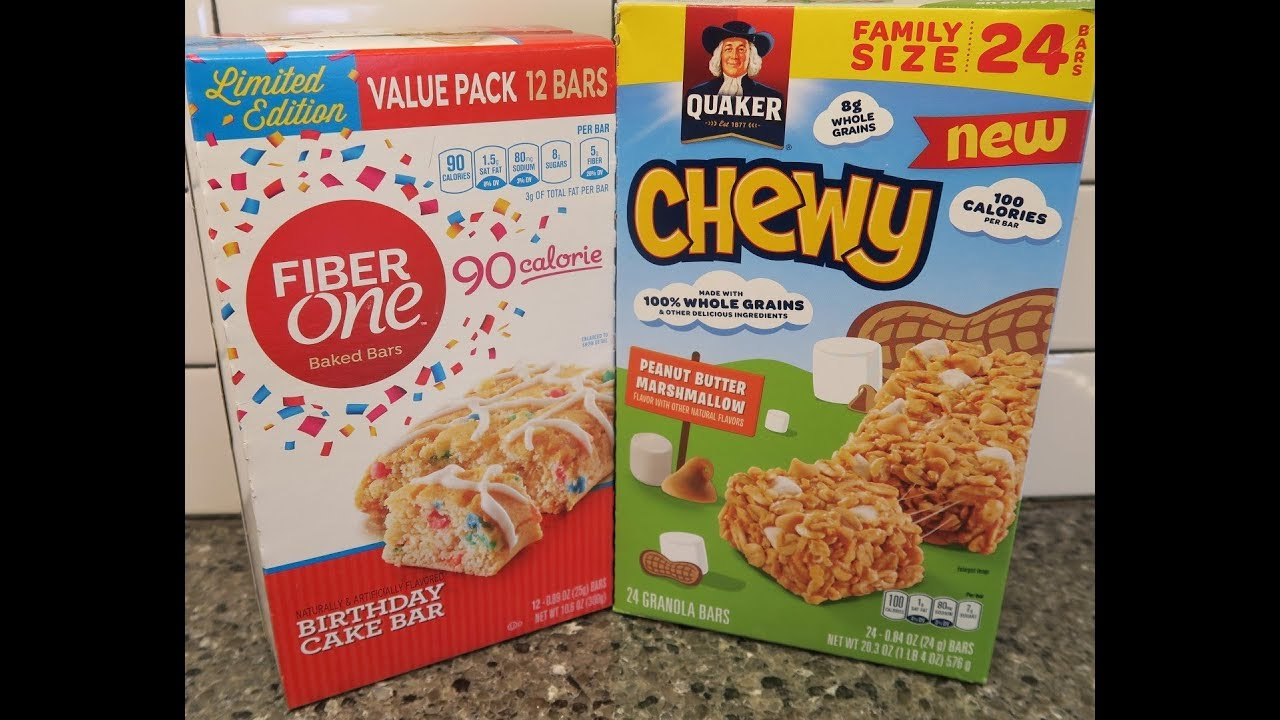 Fiber One Birthday Cake Bar Quaker Chewy Peanut Butter Marshmallow Granola Review