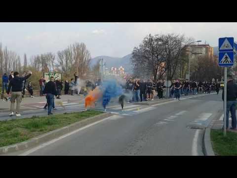 Korteo BH Fanaticosa u Zenici pred utakmicu BiH-Gibraltar (25.03.2017)