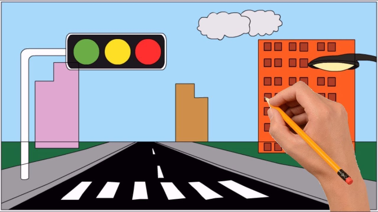 How to Draw Traffic Light in The City Step by Step Easy - YouTubeYouTube