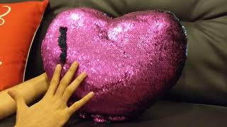 QQB Mermaid throw pillow, two Reversible Sequin color Heart shaped.