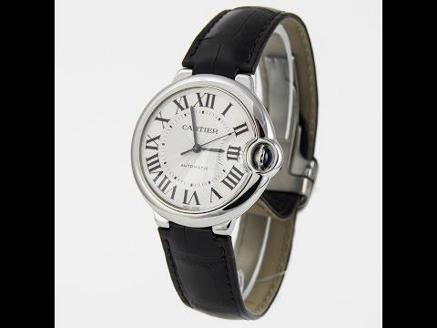 Cartier Ballon Bleu 36 MM Watch Stainless Steel Black Leathe