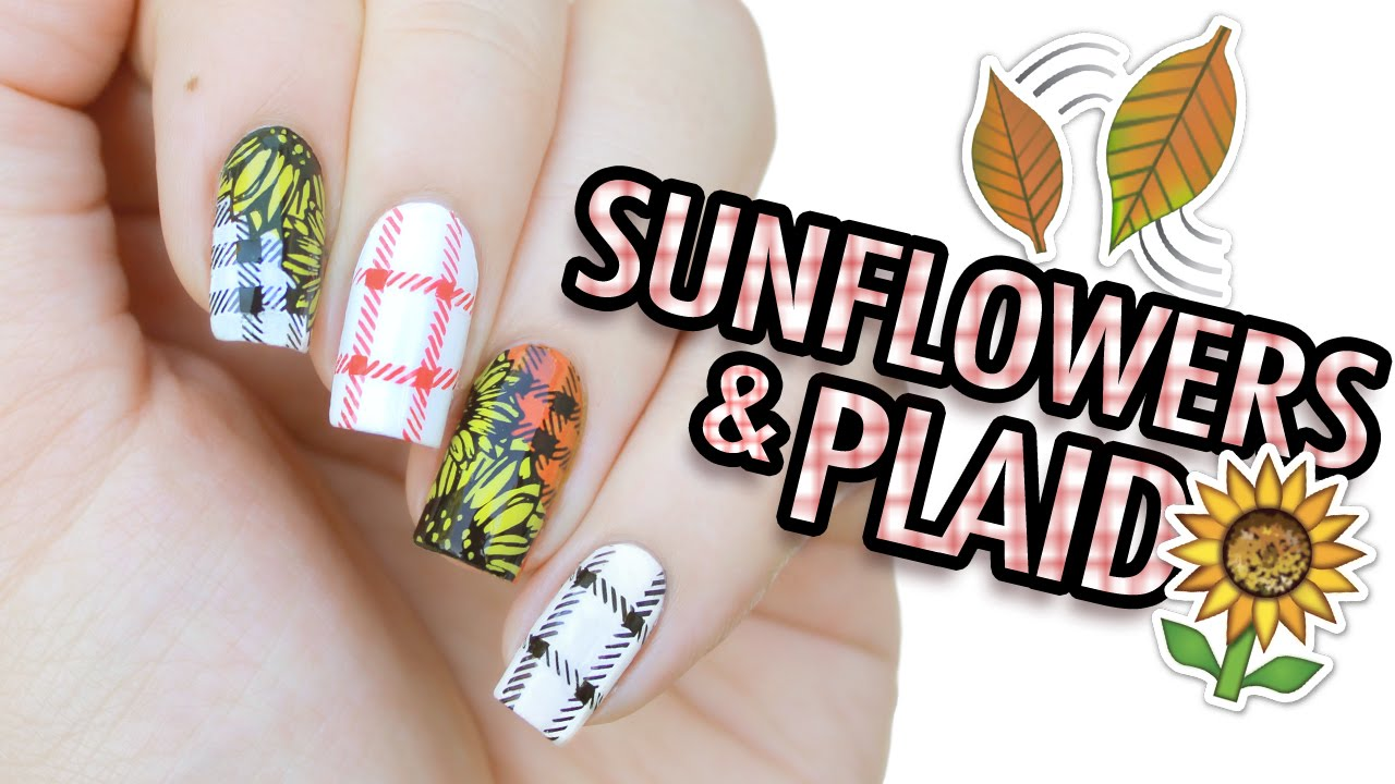 Sunflowers & Plaid Nail Art   MoYou London Stamping - YouTube