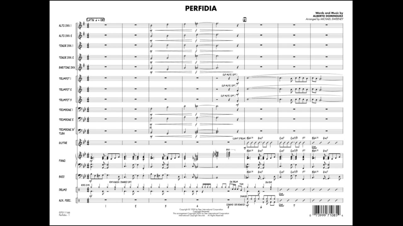 Perfidia By Alberto Dominguezarr Michael Sweeney Chords Chordify