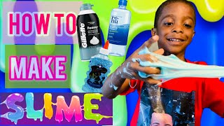 How to make slime using glue, shaving cream and contact solution.