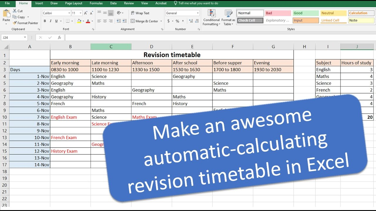 make an awesome automatic revision timetable  schedule