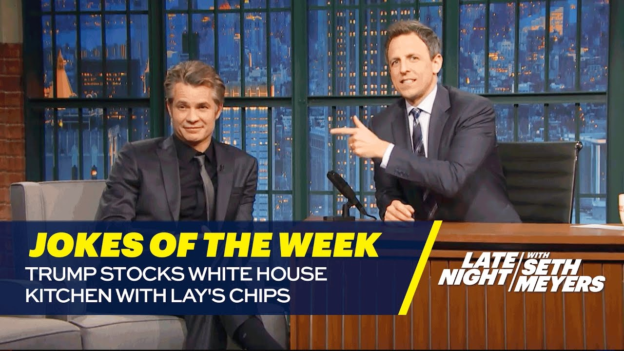 Seths favorite jokes of the week trump stocks white house kitchen with lays chips