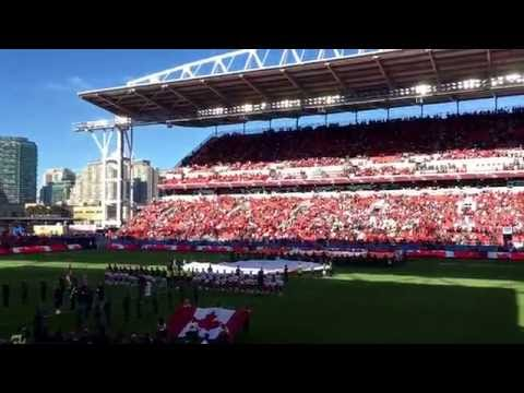 Canadian national anthem and fighter jets flyby at Toronto FC game