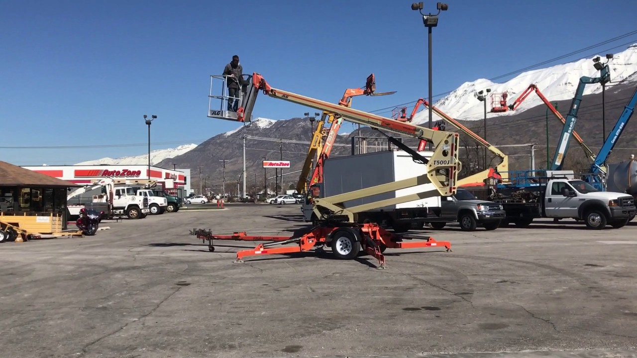 SOLD - Aerial Manlift Boom Lift JLG T500J 50' Tow Behind Honda Gas Towable  FOR SALE $26,800