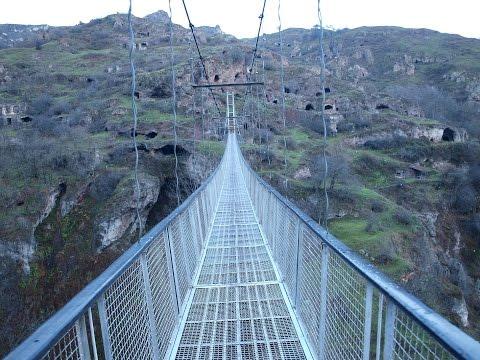 Подвесной мост в селе