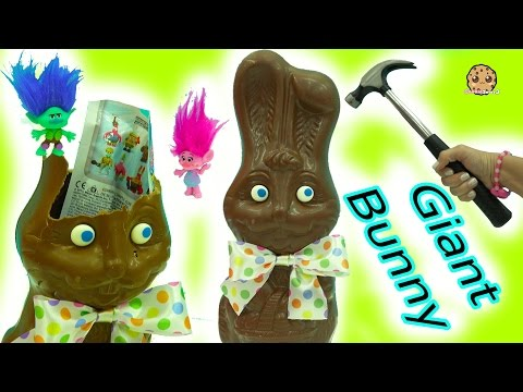 Giant Chocolate Bunny with Surprise Blind Bags + Easter DIY Boss Baby & Trolls Eggs