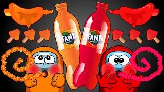 빨간색 VS 주황색 음식 대결  - 어몽어스 애니메이션…