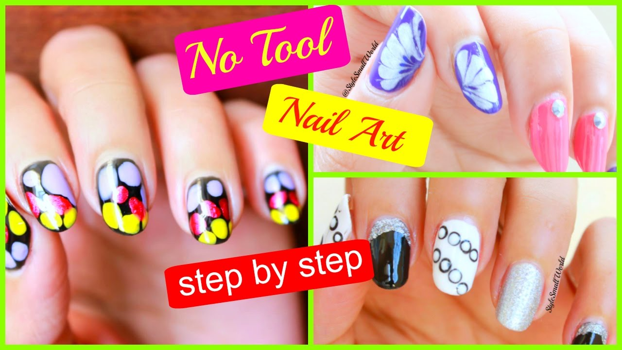 3 Simple Nail Art | How to do nail art at home step by step without ...