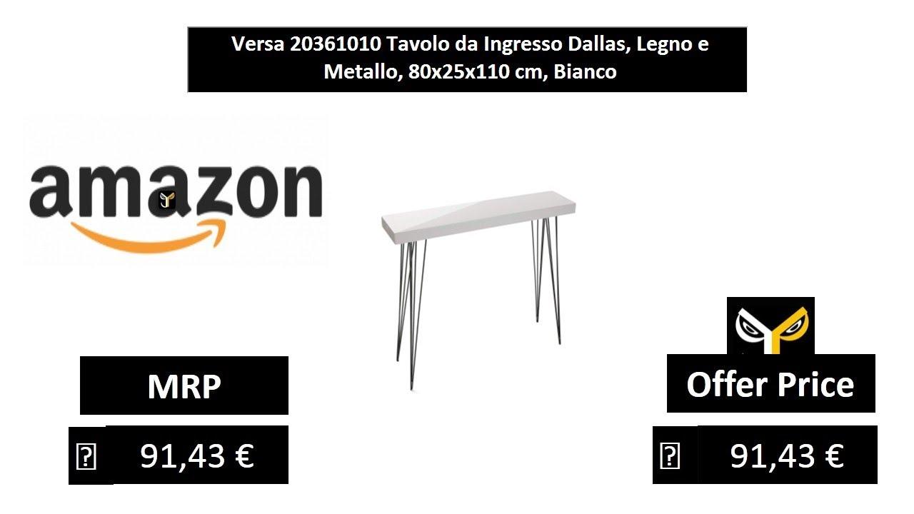 Legno e Metallo Versa 20361010 Tavolo da Ingresso Dallas 80x25x110 cm Bianco