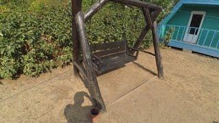 Деревянная  детская качеля из бревен,как сделать?