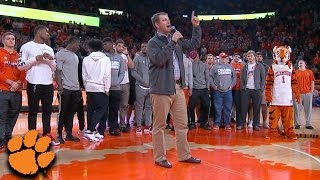 Clemson Football Honored at Halftime of Basketball Game