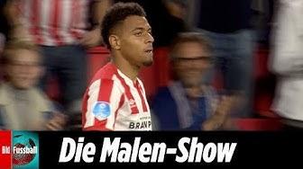 Historische 5 Tore von Talent Malen   PSV Eindhoven - Vitesse Arnheim 5:0   Highlights   Eredivisie
