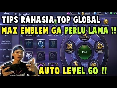 CARA CEPAT NAIK LEVEL EMBLEM MAX !! TIPS RAHASIA TOP GLOBAL - Mobile Legends