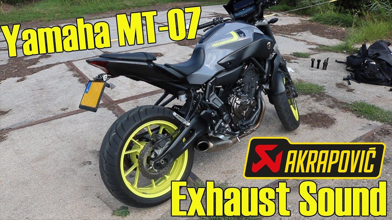 yamaha mt 07 full akrapovic titanium exhaust sound