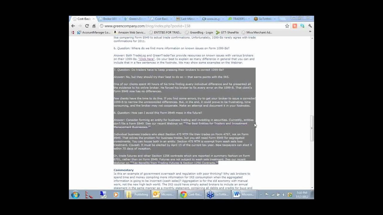 Greentradertax Cost Basis Reporting Update How To File The New Tax