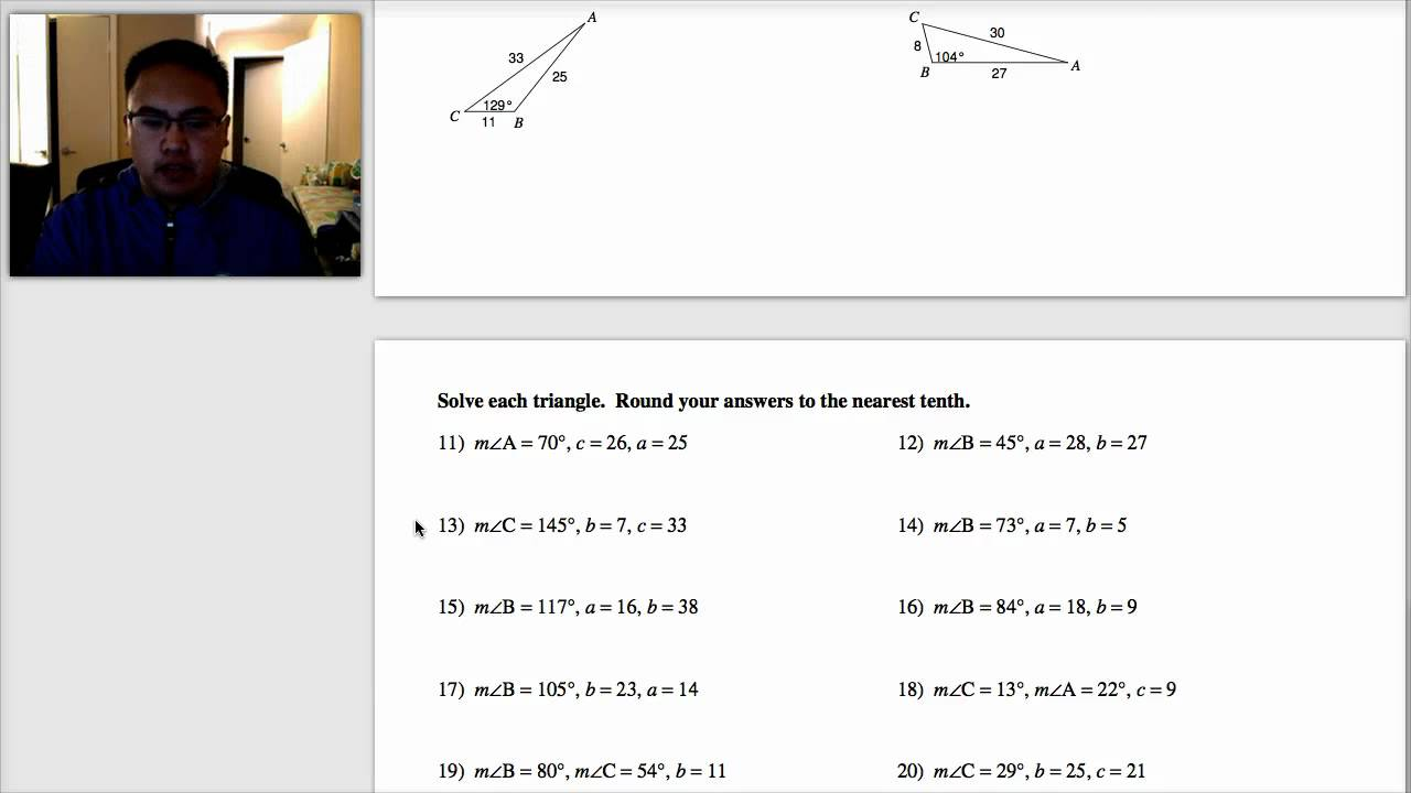 Law of Sines Worksheet Video YouTube – Law of Sines Worksheet