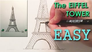 How to draw the Eiffel Tower - Paris World Monuments