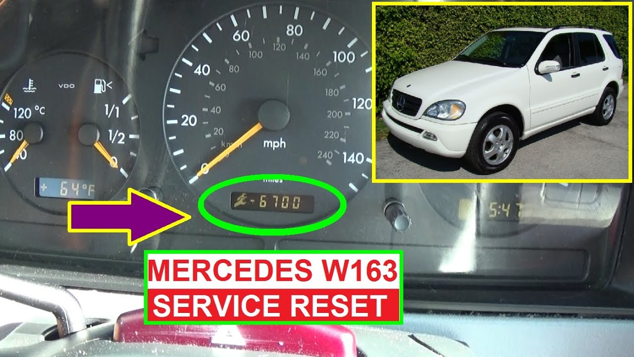Mercedes w163 service reset oil life reset on ml320 ml430 ml350 ml500 ml270 ml230 ml400 youtube