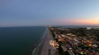 Forth of July Sunset Fireworks Over Cocoa Beach Florida  by Drone