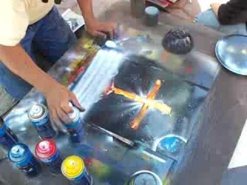 Spray Paint Art Abolutely Amazing Painting Of Cross Youtube