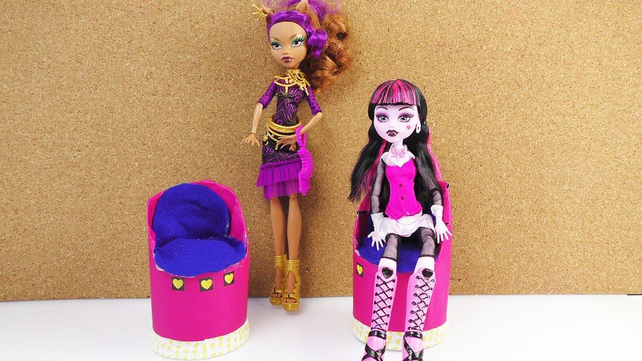 sessel f r barbie und monster high puppen selber machen sessel aus chipsdosen bauanleitung. Black Bedroom Furniture Sets. Home Design Ideas
