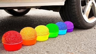 Crushing Crunchy & Soft Things by Car! - EXPERIMENT: RAINBOW TOYS VS CAR VS FOOD