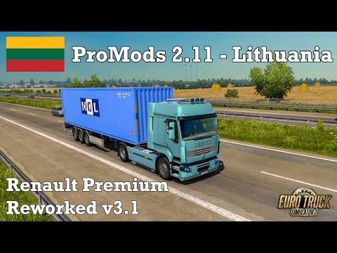 Euro Truck Simulator 2 - #295 - Renault Premium Reworkv3.1 + Luxury Interior[ProMODS 2.11-Lithuania]