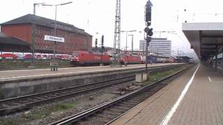 (Vid 80) German Trains - Freight Train action at Wuerzburg Hbf.