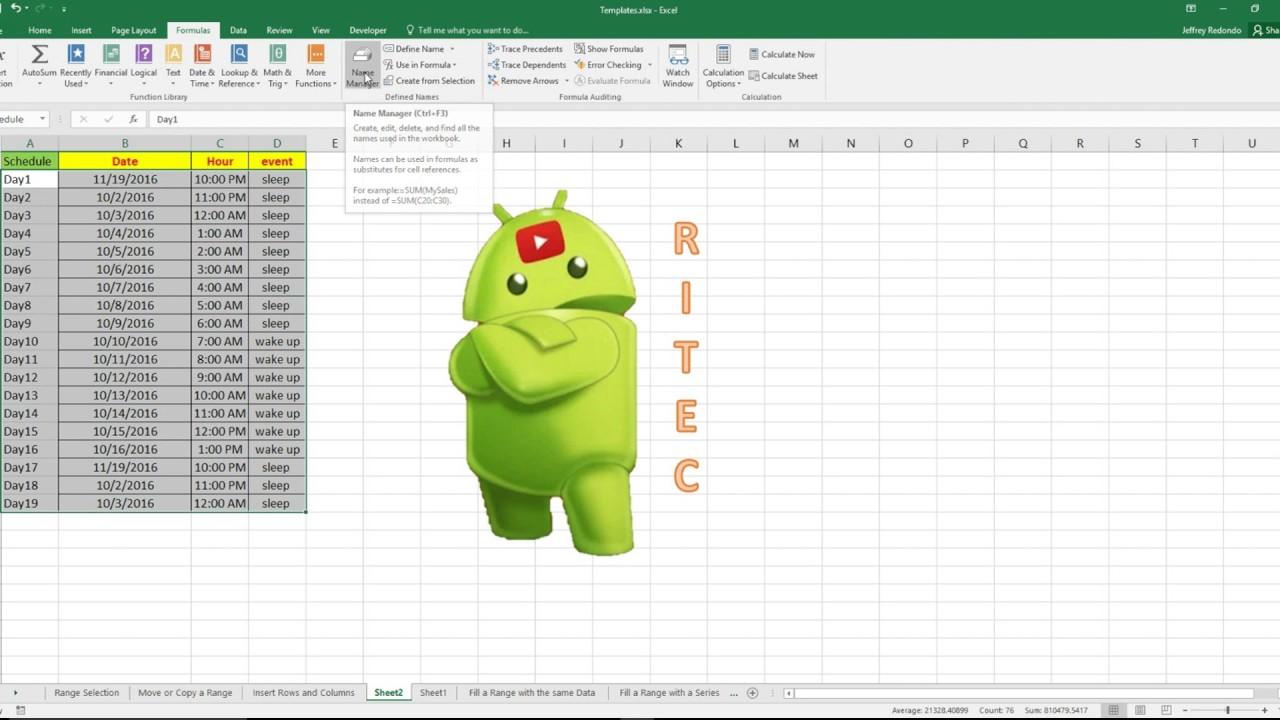 How To Delete Range Names In Excel 2016