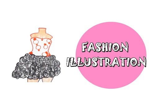 Tutorial Fashion Illustration in watercolor. Girls clothes simple . Motif roses