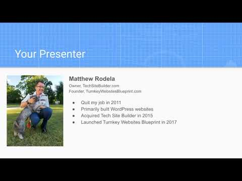 Webinar: How to Build a Passive Income Stream with Turnkey Websites with Matthew Rodela