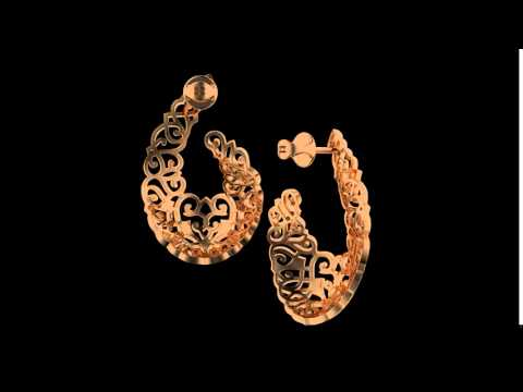Серьги Кружево и страсть с бриллиантами из красного золота 585°