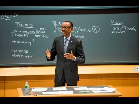 President Kagame speaking as guest lecturer at Harvard Busin